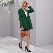 Double Button Longline Blazer & Skirt Set