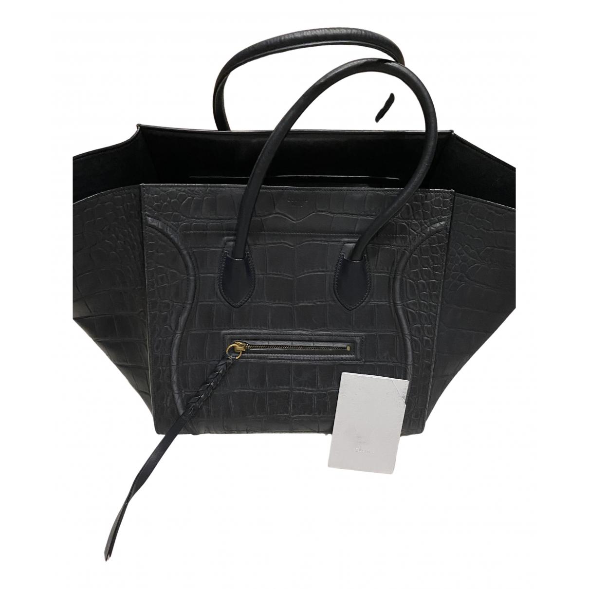 Celine Luggage Phantom Handtasche in  Marine Leder