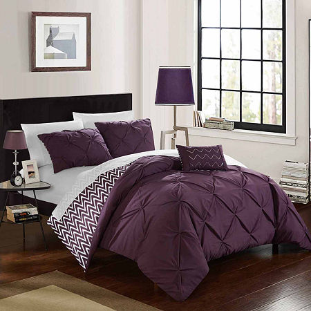 Chic Home Jacky Midweight Reversible Comforter Set, One Size , Purple