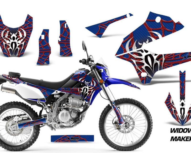 AMR Racing Dirt Bike Decals Graphics Kit Sticker Wrap For Kawasaki KLX250 2008-2018áWIDOW RED BLUE