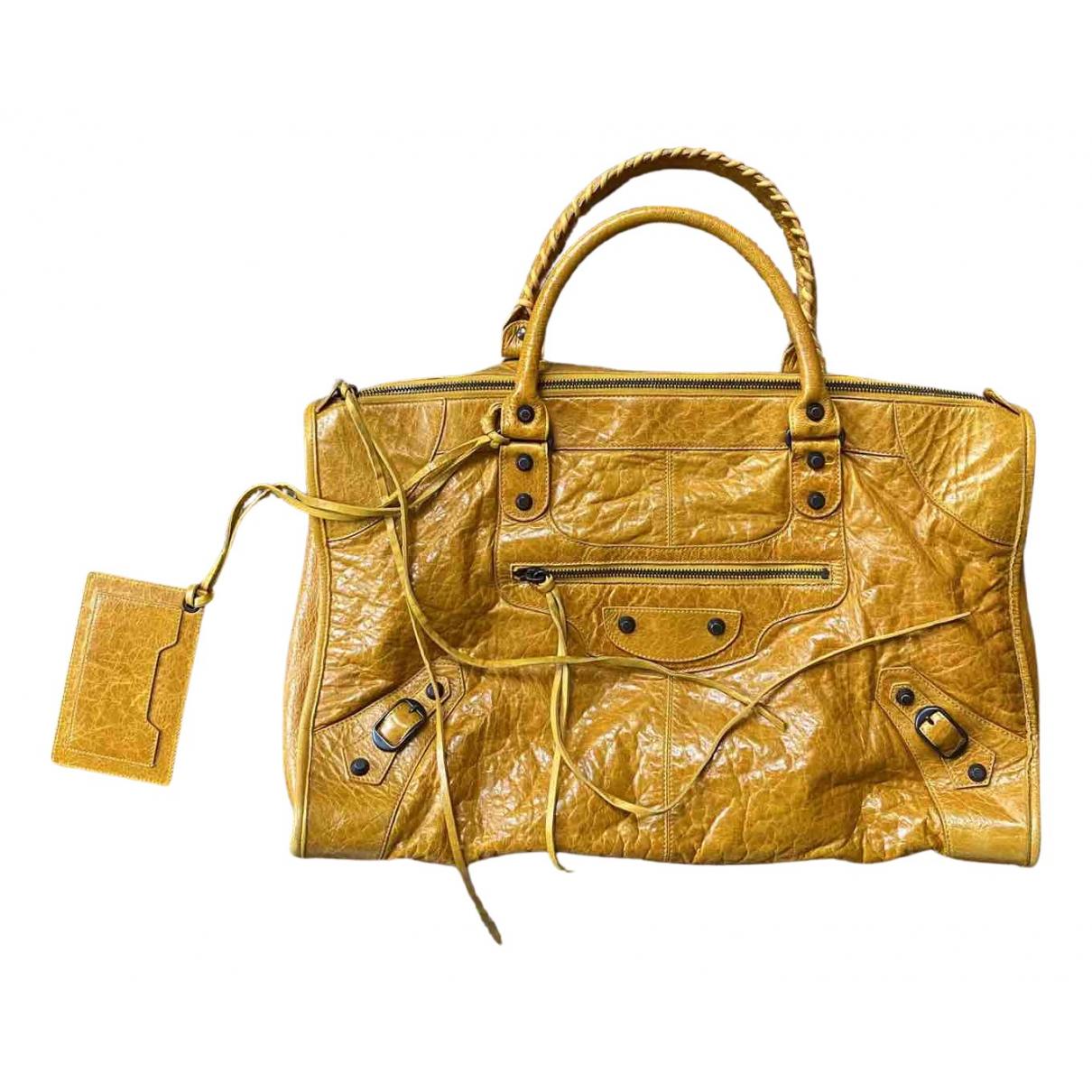 Balenciaga City Handtasche in  Gelb Leder