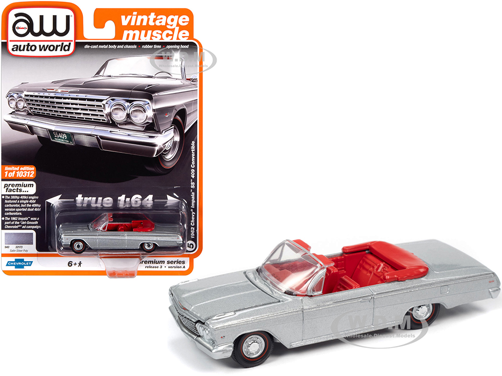 1962 Chevrolet Impala SS 409 Convertible Satin Silver Metallic with Red Interior