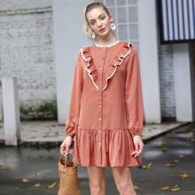 Button Front Lace Trim Ruffle Smock Dress