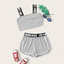 Girls Letter Strap Crop Top & Dolphin Shorts Set