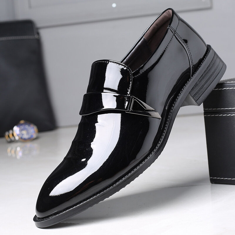Men Pointed Toe Slip On Business Casual Formal Shoes