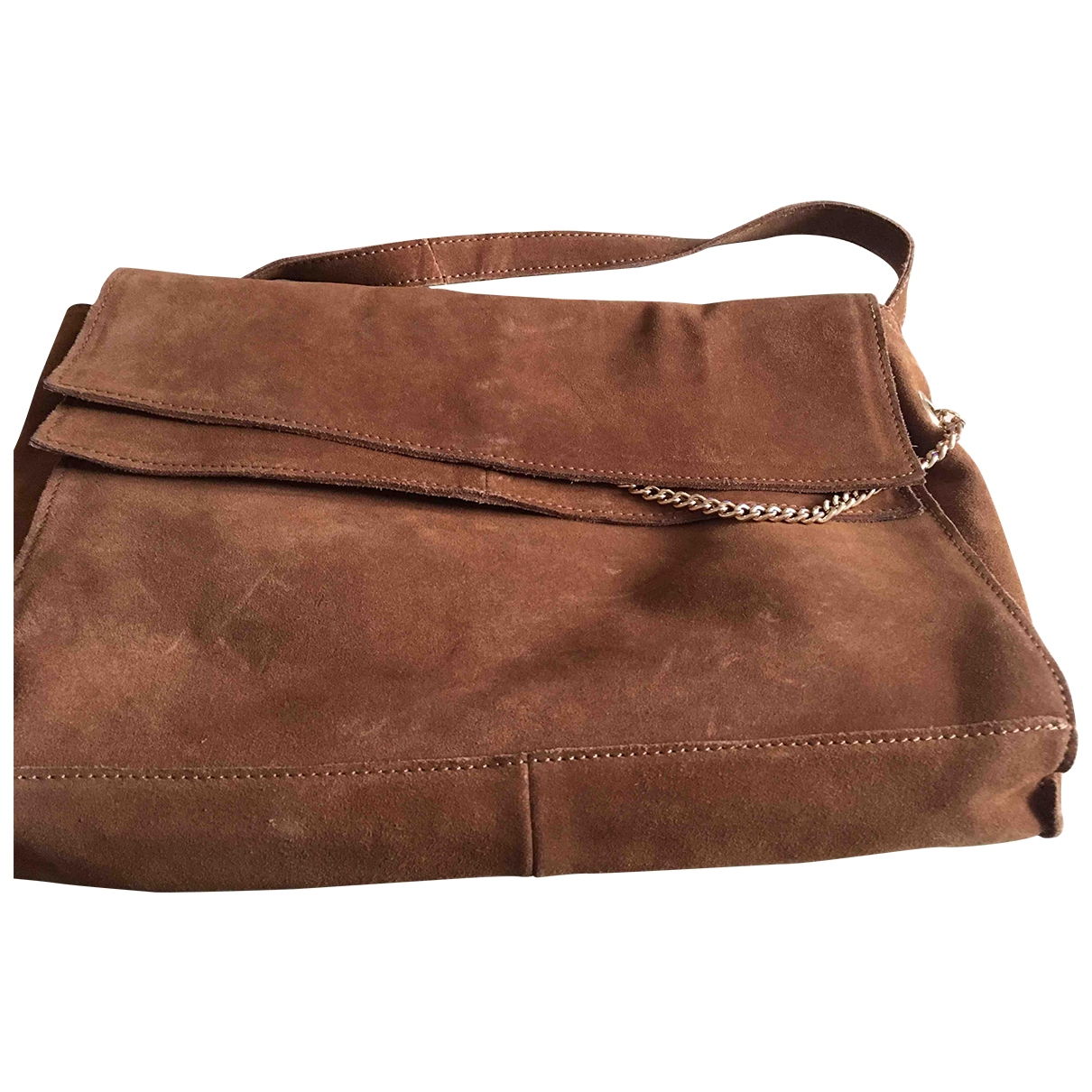 Zara \N Camel Suede Clutch bag for Women \N