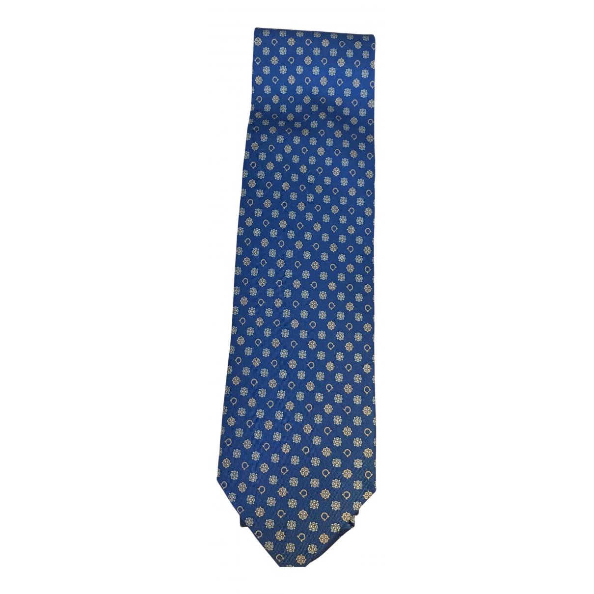 Salvatore Ferragamo - Cravates   pour homme en soie - bleu