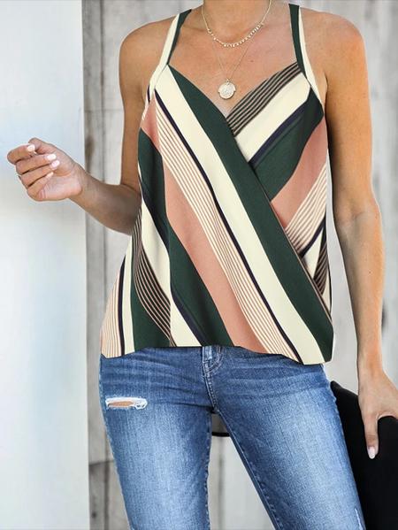 YOINS Green Wrap Design Striped Halter Sleeveless Cami