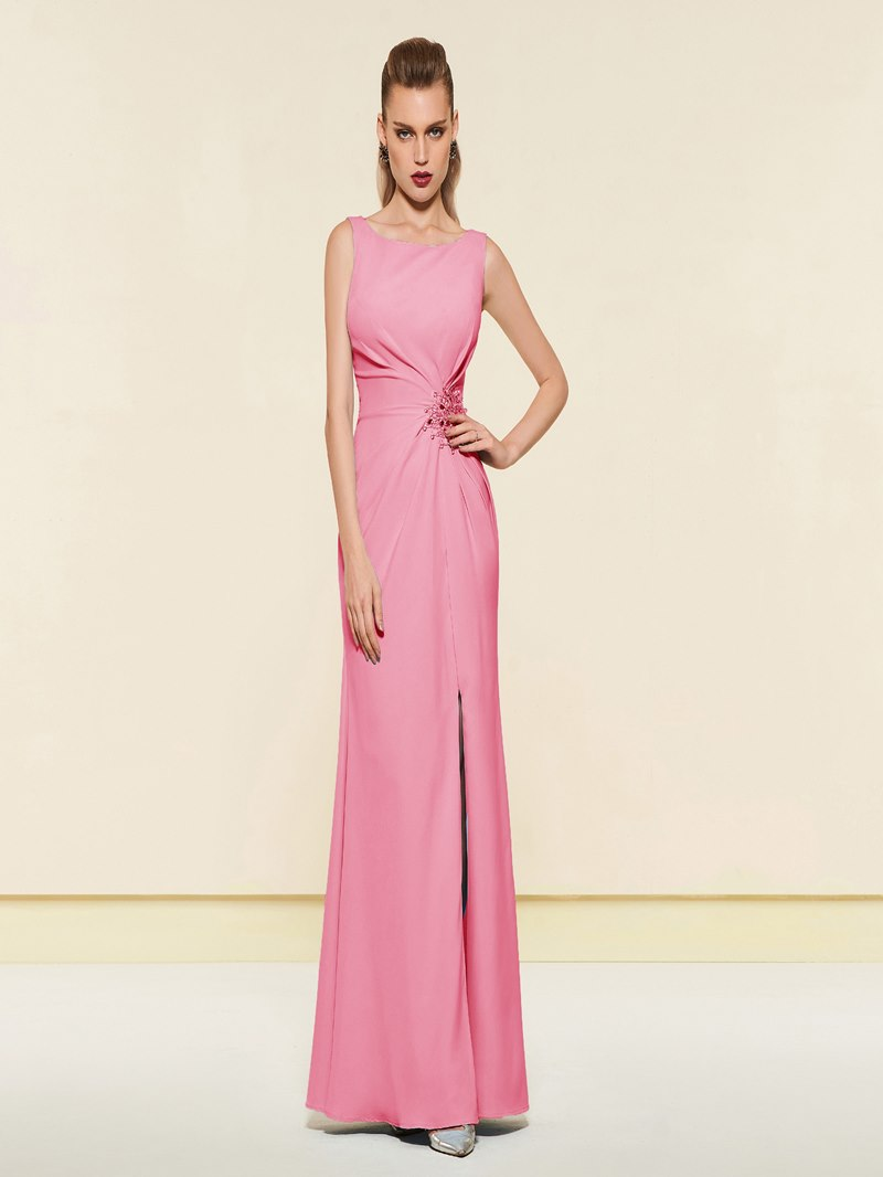 Ericdress Beading Sheath Evening Dress With Side Slit