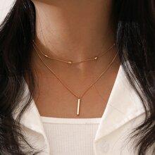 2 Stuecke Halskette mit Leiste Dekor