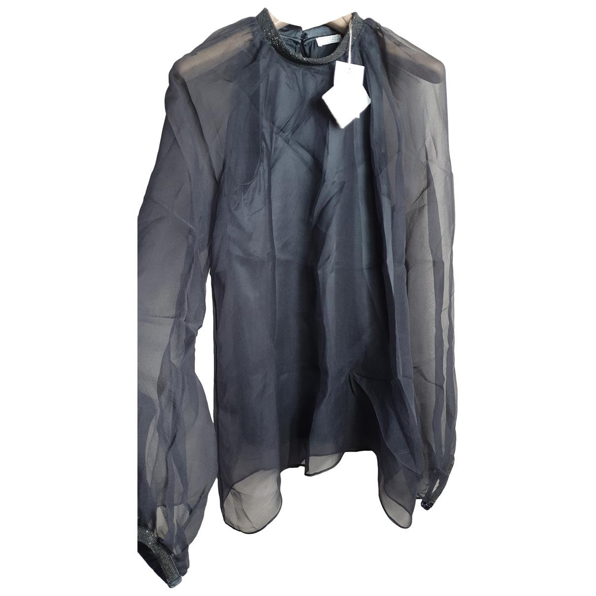 Brunello Cucinelli - Top   pour femme en soie - noir