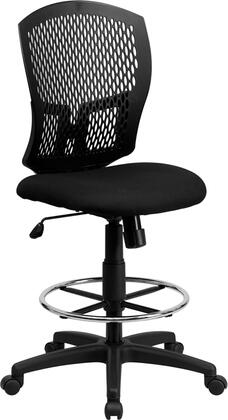 WL-3958SYG-BK-D-GG Mid-Back Designer Back Drafting Stool with Padded Fabric