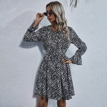 Flounce Sleeve Ditsy Floral Belted Dress
