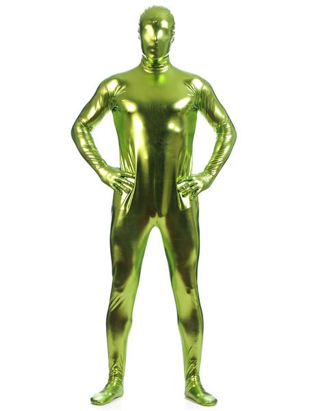 Milanoo Disfraz Halloween Verde brillante metalico Zentai trajes de hombres Halloween