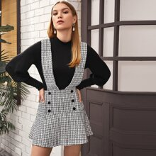 Double Button Tweed Overall Dress