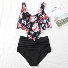 Bikini Badeanzug mit Blumen Muster und Zipfelsaum