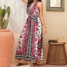 Kleid mit tiefem Kragen, offener Rueckseite, Blumen & Paisley Muster, Guertel und Neckholder