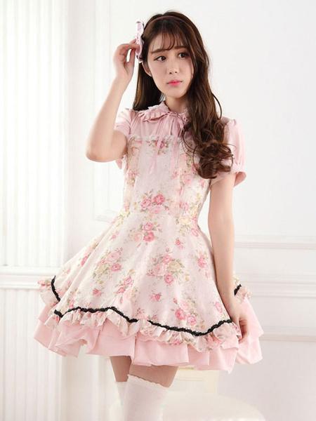 Milanoo Classic Lolita One Piece Dress Lace Up Ruffles Pink Printed Lolita One Piece Dresses
