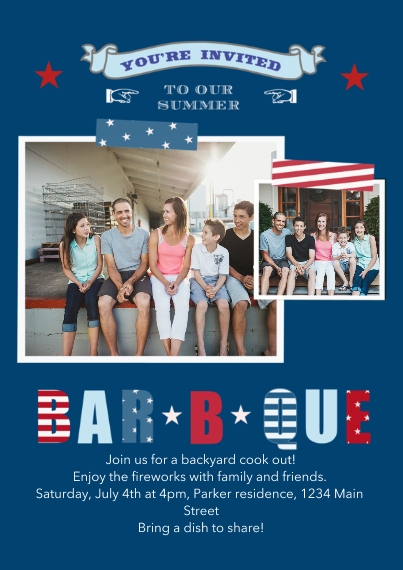 4th of July Photo Cards 5x7 Cards, Premium Cardstock 120lb with Scalloped Corners, Card & Stationery -Patriotic BBQ