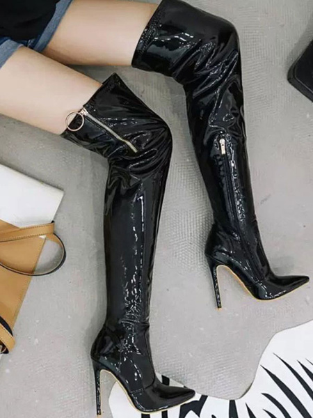 Milanoo Over The Knee Boots Black Pointed Toe Winter Boots High Heel Thigh High Boots