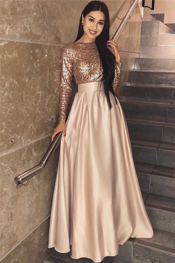 2021 Langarm Pailletten Abendkleid Guenstige   A-line elegantes formales Partykleid online