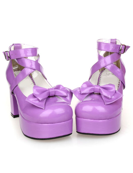 Milanoo Sweet Lolita Chunky Heels Shoes Platform Shoes Ankle Straps Bow Decor Buckle