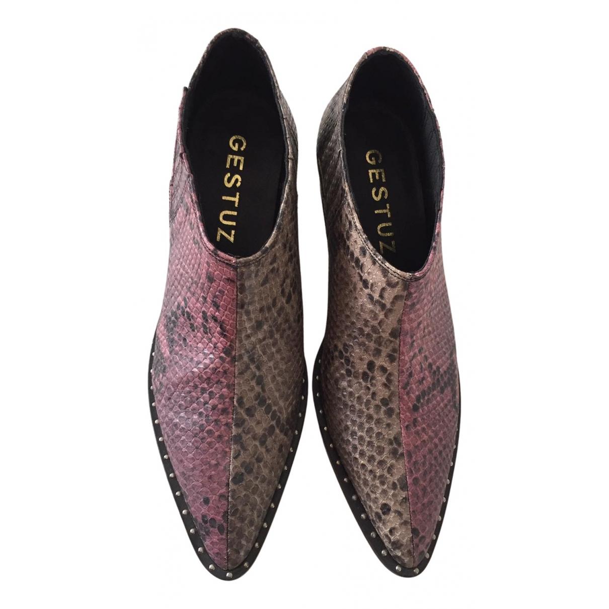 Gestuz - Boots   pour femme en cuir - beige