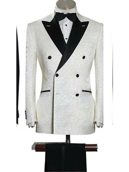 Five Button Peak Lapel Slim White Suit