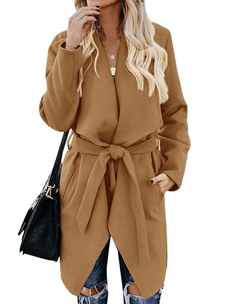 Milanoo Woman\s Outerwear Khaki Turndown Collar Long Sleeves Knotted Casual Woolen Coat