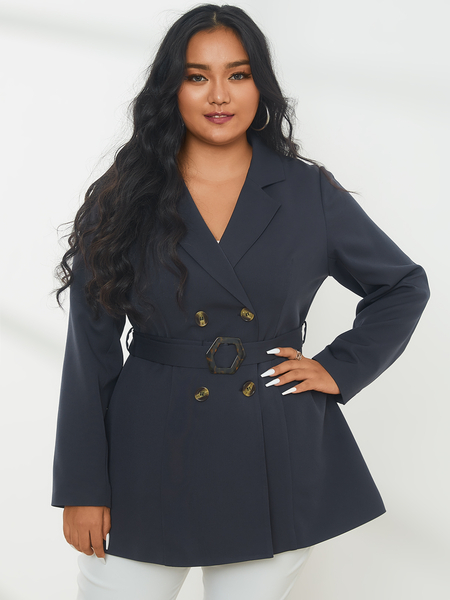 YOINS Plus Size Lapel Collar Belt Design Long Sleeves Blazer