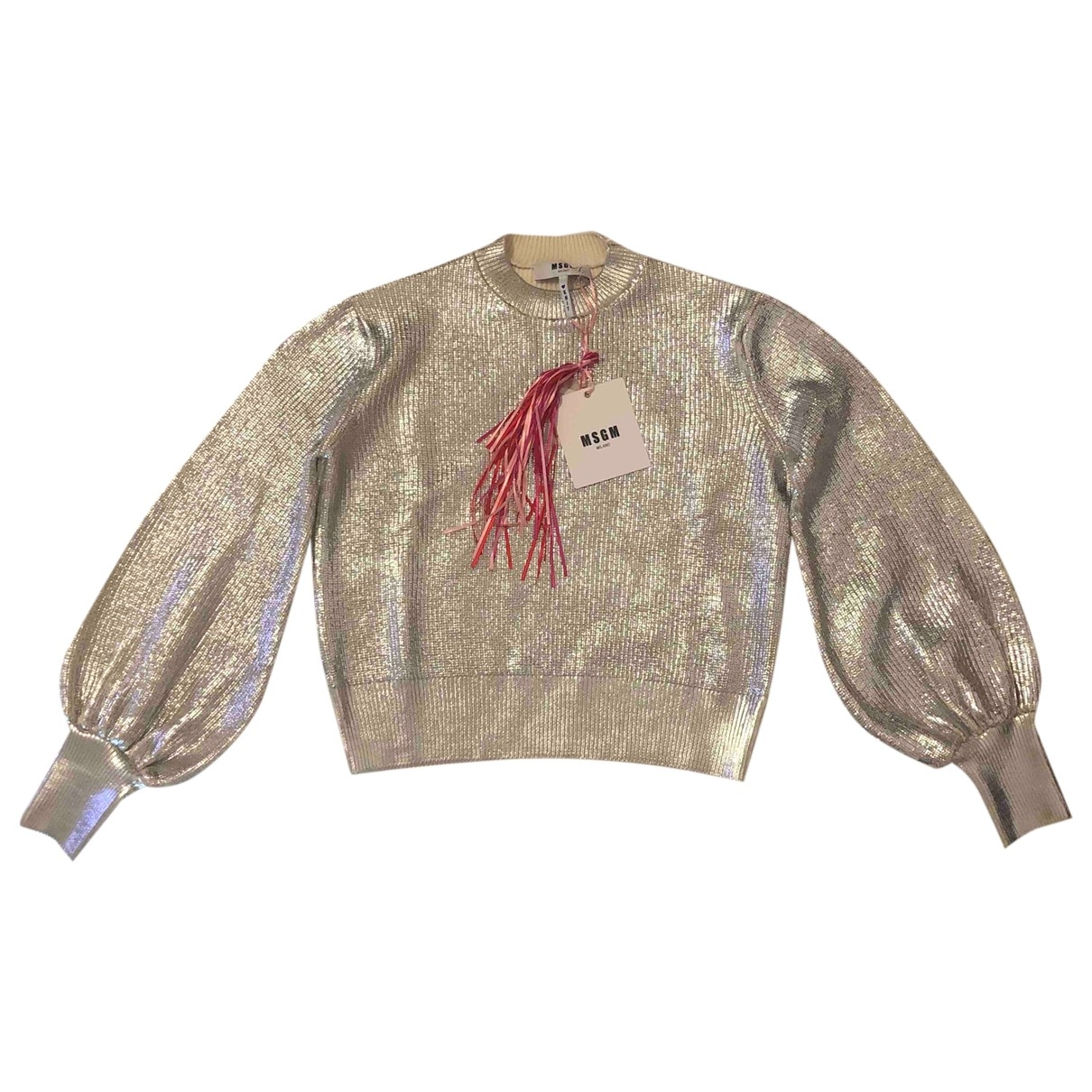 Msgm - Pull   pour femme en laine - argente
