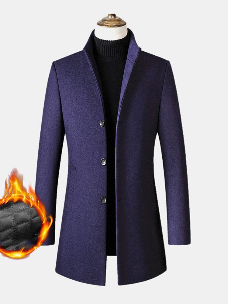 Mens Woolen High Quality Long Sleeve Warm Fleece Mid-length Blazer Casual Coats