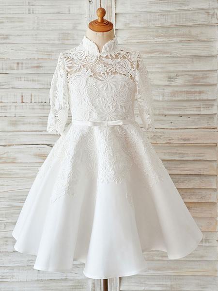 Milanoo Vestido de niña de las flores de boda de marfil de saten de encaje de cuello alto de manga larga