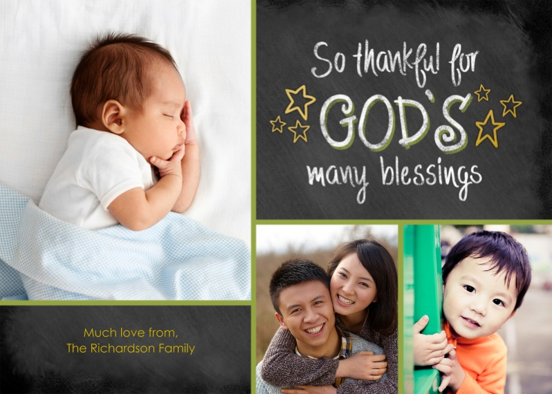 Religious Christmas Cards 5x7 Cards, Standard Cardstock 85lb, Card & Stationery -God's Many Blessings