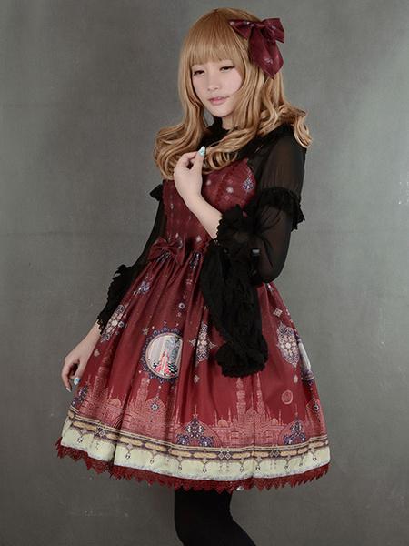 Milanoo Multicolor Synthetic Lolita Dress With Print Trendy Bows  Original Design