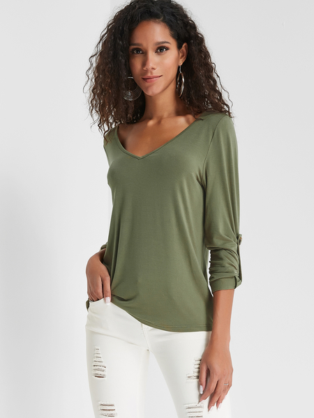 Yoins Olive Green V-neck Cozy Tee