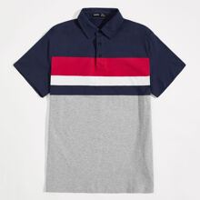 Men Contrast Panel Buttoned Half Placket Polo Shirt