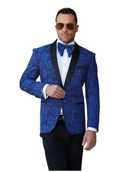 Mens Royal Blue Dinner Jacket Tuxedo Shawl Lapel Floral Pattern Blazer