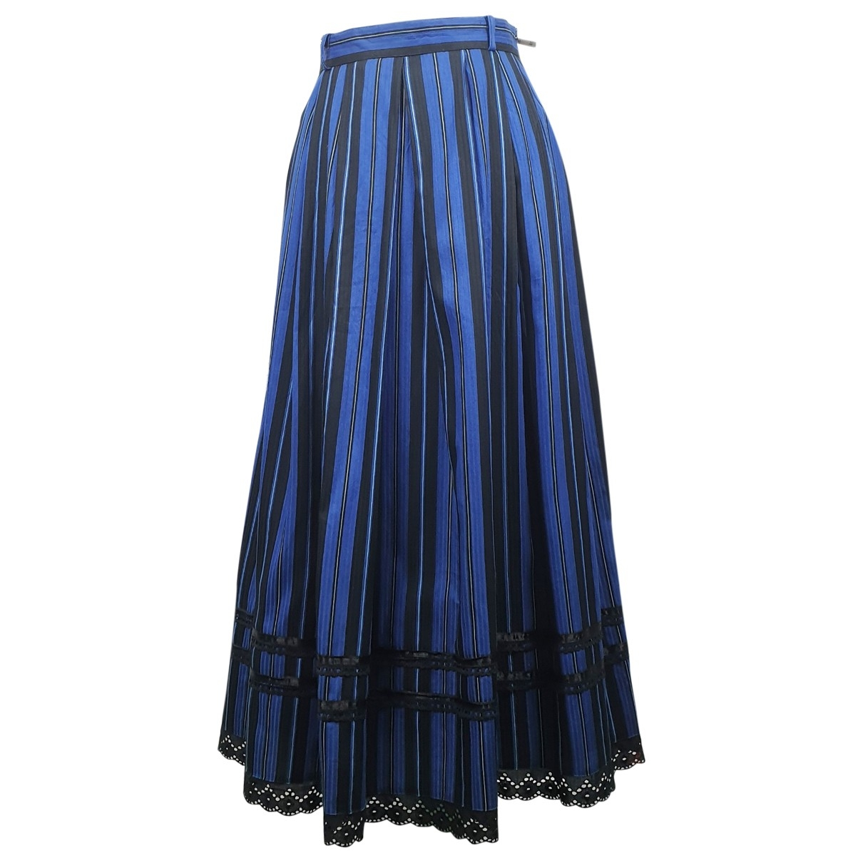 Non Signé / Unsigned Hippie Chic Blue Cotton skirt for Women 40 FR