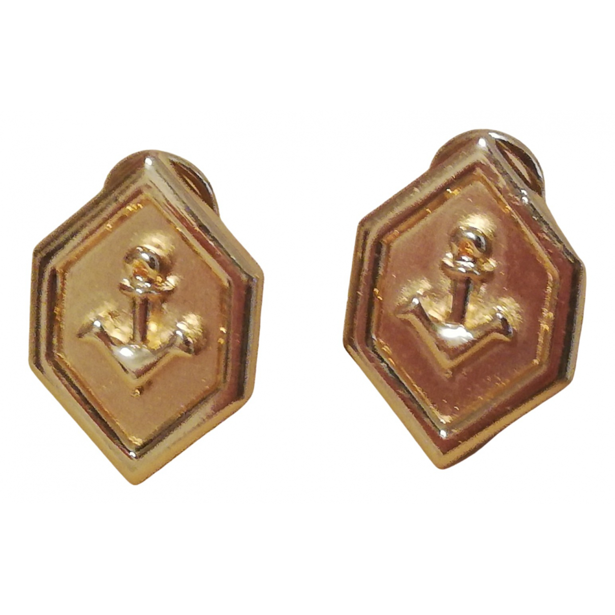 Non Signe / Unsigned Motifs Coquillages OhrRing in  Gold Vergoldet
