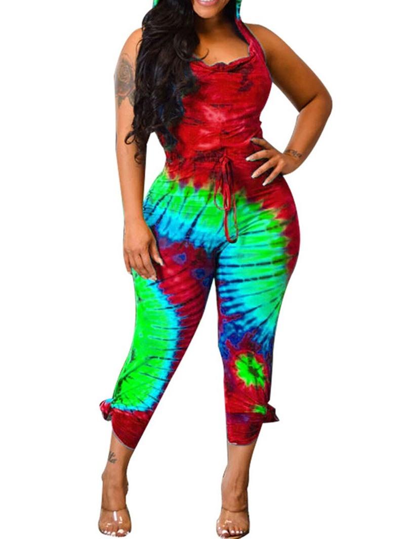 Ericdress Color Block Mid-Calf Office Lady Slim Straight Jumpsuit