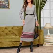 Kleid mit V Kragen und Farbblock ohne Guertel