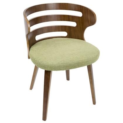 Cosi Collection CH-COSIWLGN Accent Chair with Curved Wood Backrest  Tapered Wood Legs  Foam Filled Seat Cushion  Mid-Century Modern Style and Fabric