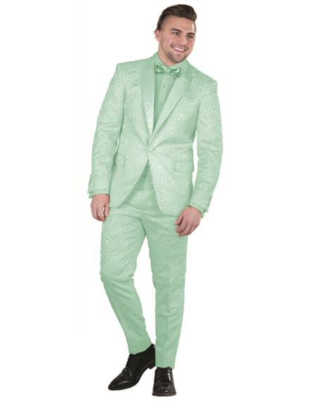 Mens Single Breasted Green Suit