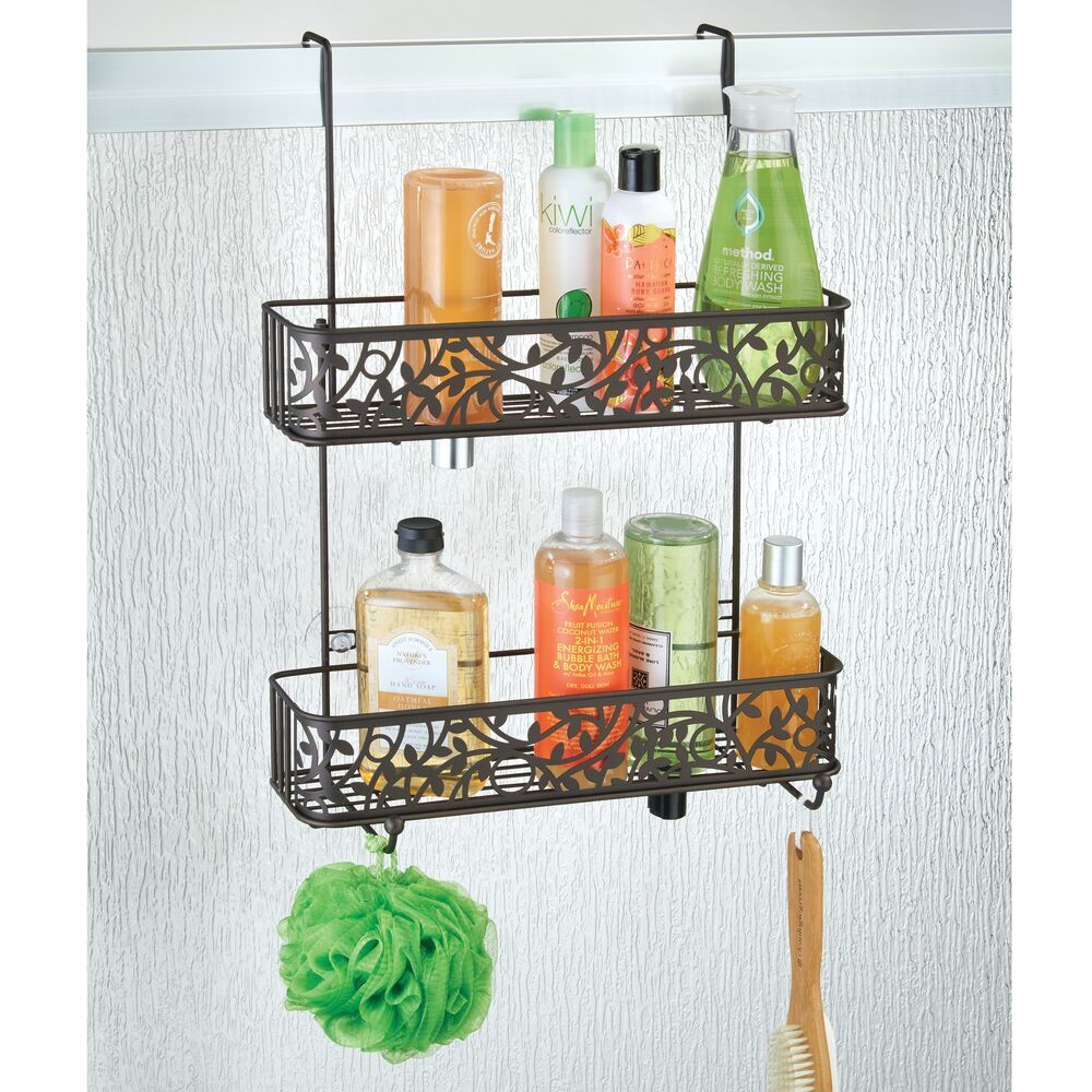 Wide Over Door Hanging Bathroom Tub/Shower Caddy Storage, Decorative Vine Design in Graphite, 6.18