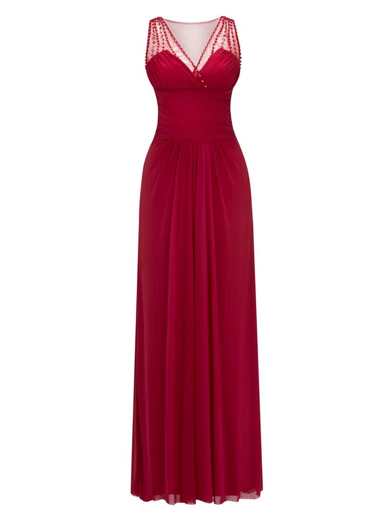 Ericdress A Line V Neck Beaded Pleats Long Evening Dress