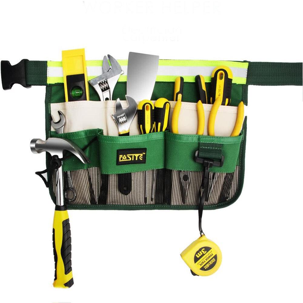 Garden Worker Helper 6 Pockets Multifunctional Tool Waist Bags Woodworking Waist Belt Pack for Garden Kits with Adjustab
