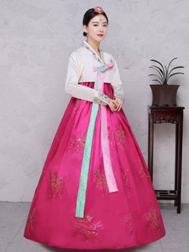 Milanoo Halloween Korean Costume Satin Women's Floral Printed Maxi A Line Dress Hanbok Costume Set