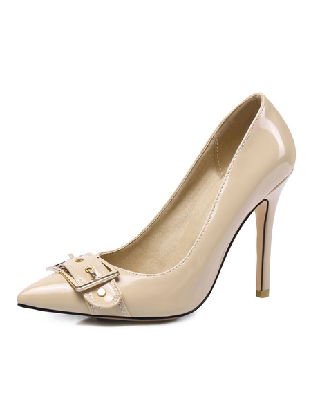 Milanoo White High Heels Women Pointed Toe Buckle Detail Slip On Pumps Plus Size Dress Shoes