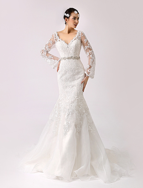 Milanoo 2020 Vintage Inspired Trumpet Lace Wedding Gown with Cutout Back
